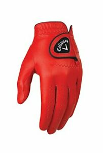 Callaway Golf Men's OptiColor Leather Glove Red Medium Worn on Left Hand