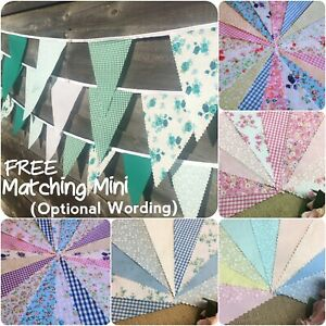 Fabric Floral Bunting Handmade Wedding Shabby Chic Party  + Custom Mini buntings
