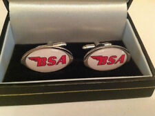 BSA MOTORBIKE CUFF LINKS SILVER COLLECTABLE BNIB