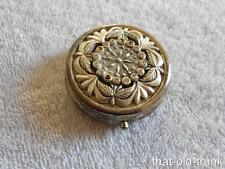Vintage Ornate Silver Round Hinged Pill Box Removable Tray Rhinestones