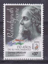 Rabindranath Tagore Nobel prize literature India flag URUGUAY MNH STAMP #2328 $4