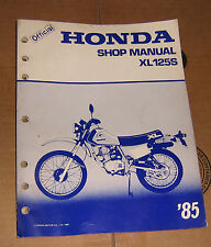 1985 Honda XL 125 S Honda Motorcycle Service Shop Repair Manual OEM