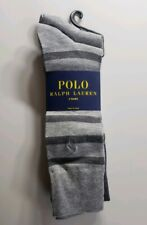 Polo Ralph Lauren Men's Dress Socks Gray Long Striped Solid 3 pack size 10-13