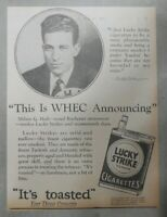Lucky Strike Ad: WHEC Rochester NY Radio Announcer from 1928 Size: 8 x 10 inches