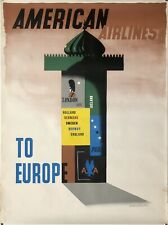 Original Vintage Poster AMERICAN AIRLINES TO EUROPE Paris London Airline Travel