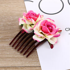 Women Girl Double Silk Rose Flower Hair Comb Clip Wedding Bridal Party Beachy