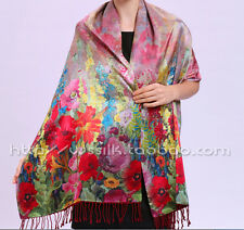 100% pure natura mulberry silk double-deck long scarf shawl flowers valley D506