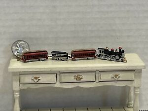 Vintage Artisan DV '85 Metal Train Set for Little Boy Dollhouse Miniature 1:12
