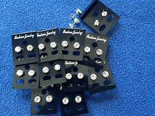JOB LOT-20 pairs of 0.6cm crystal crown set stud earrings.Silver plated.UK made.