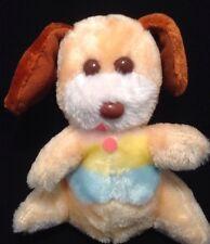 Vintage Plush Peach Orange Puppy Dog Plush Rainbow Best Soft Thing Brown Ears