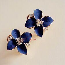 Boucles d'Oreilles Clous Lucky Fleur Camélia Trèfle Bleu Marine Vintage CC 2
