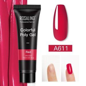 Poly Gel Crystal Nail Polish Kit Art Design Extension Builder Red Manicure Set