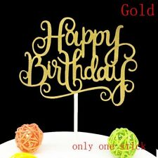 Gold /Silver  Party Supplies Happy Birthday Cake Topper Decorations Tools