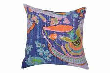 "Indian Kantha Pillows Outdoor Cushion Cover 16"" Vintage Decor Decorative Throw"