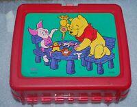 Vintage Walt Disney Winnie The Pooh Lunchbox Red Plastic Hard Case