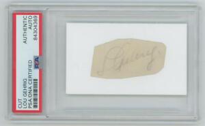 Lou Gehrig Signed Autograph Cut. PSA Authentic
