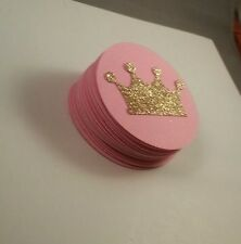 20 Pink and Gold Glitter Crown Princess tags, Tiara Gold and Pink Party