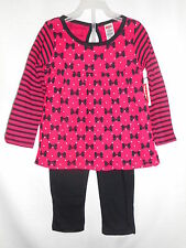 Fisher Price Tunic & Leggings Outfit Bows Red Black Toddler Girls Size 4T NWT