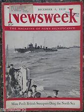 Newsweek Magazine December 4,1939 British Mine Sweepers  VINTAGE ADS