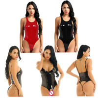 Women Patent Leather Latex Bodysuit Clubwear Crothless Catsuit Romper Leotard
