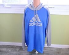 ADIDAS MENS CLIMAWARM PULLOVER HOODIE 4XL BLUE/HEATHER GRAY