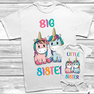 Unicorn Big Sister Little Sister T-Shirt Themed Kids Baby Grow Set Outfit
