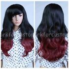 Ladies Fashion Long Black+Red Cosplay Party Wigs/Women Curly Wavy Full Hair Wig