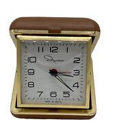 Vintage ~ INGRAHAM Brazil Wind Up Travel Alarm Clock ~ Brown Case ~ Works