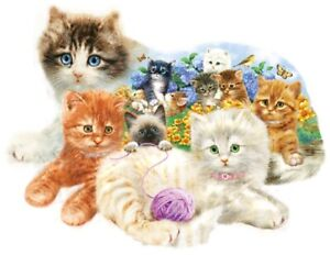 Jigsaw Puzzle Animal Cat Litter of Kittens Freeform 1000 pieces NEW made in USA