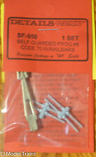 Details West HO #956 Switch Frog Code 70 Self Guarded #6(White Bronze)w/Railbars
