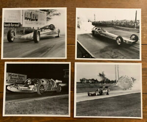 Lot Of 4 Vintage Unsigned 8x10 Racing Dragster Photos Black And White Wisconsin