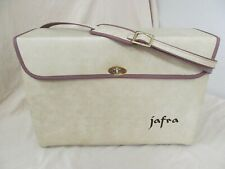 "Vtg Jafra Cosmetic Storage/Travel Bag Sturdy Leather Case w Strap 17""x 6""x 12"""