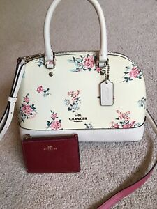 Coach mini Sierra Parent Leather floral bouquet chalk and dark red coin pouch