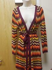 Monsoon Plus Sz XL 18 MULTI colour Zigzag Knit Long Wool Blend Cardigan USED