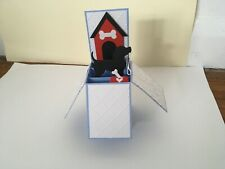 Handmade card DOG with lead and kennel design personalised pop up card.
