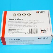 Lindy 2 Port Optical Audio Splitter Supports Dolby and DTS Audio 70432