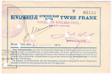 RR   NOODGELD / BILLET DE NECESSITE     STAD  ROESELARE    2 fr   WW I   1914