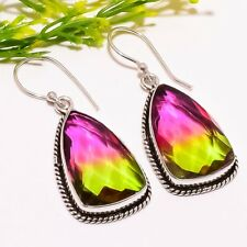 "Jewelry Earring 1.8"" Se2306 Bi-Color Tourmaline Gemstone Ethnic Fashion"