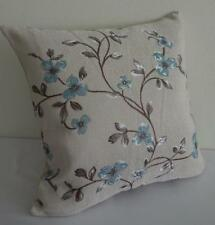 Teal-Blue Blossoms Brown Tree Branch Jacquard Damask Cushion Cover 45