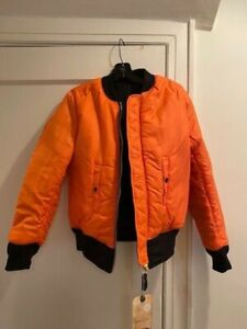 Large Alpha Industries REVERSIBLE FLIGHT JACKET Yellow or Coyote Brown NWT