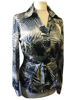 STRIKING SATIN STRETCH GLAM CHIC TOP BLOUSE BELTED ARTISTIC GEO PRINT UK 12 WORK