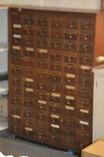 Vintage Multi 72 Drawer Library Card Cabinet Heavy Brass Pulls