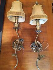 60's Silver Florentine Wall Lamp / Lights Hollywood Regency , Set Of 2