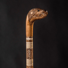 Otter Walking Stick - Fabulous Beaver Carved Wooden Cane - Handmade