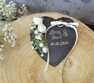 Hochzeit Ringkissen Schiefer Herz mit Namen Beschriftung
