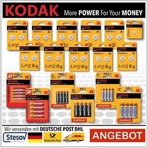 Kodak Batterien AA AAA Lithium Knopfzellen CR1025 – CR2450  LR44 R03 R06