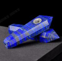 Hand Carved Six Edges Tower Lapis Lazuli Jade Tobacco Pipe Filter Collectibles