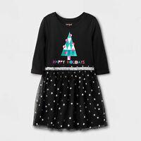 CAT & JACK Girls' Sparkle Black L/S Dress Happy Holidays w/ Christmas Tree