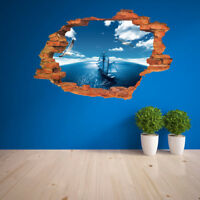 3D Sky Sea Sailing Scenery Wall Stickers Vinyl Art Mural Decal Home Room Decor