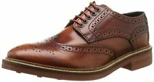 Base London Woburn Hi Shine Tan Leather Mens Formal Brogue Casual Shoes Boots